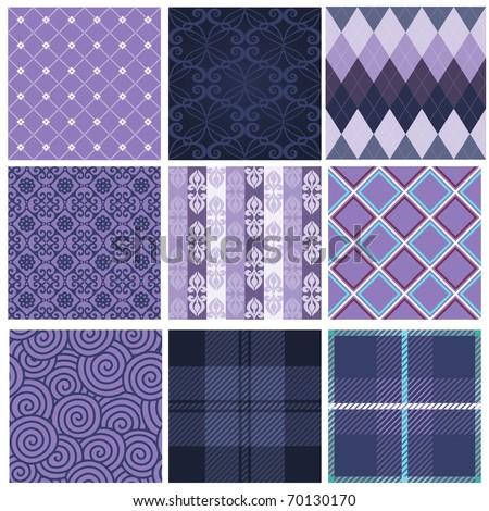 Vector set of nine purple seamless pattern - stock vector