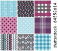 Vector set of nine seamless pattern - stock photo