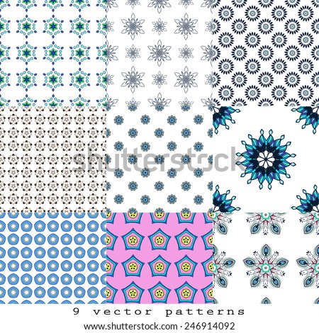 Vector set of nine seamless patterns. Modern stylish texture. Repeating geometric tiles with dotted rhombuses. Perfect  pattern, design, birthday other holiday, background for web pages. - stock vector