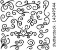 Vector set of notebook doodles. Collection of hand drawn flourishes. - stock vector