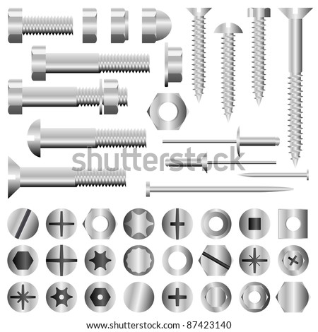 Vector set of nuts, bolts, screws and rivets - stock vector