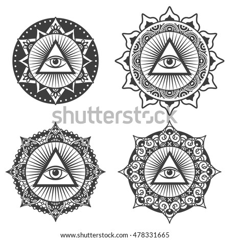 Vector Set Occult Sign Third Eye Stock Vector Royalty Free