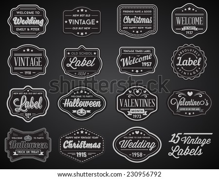 Vector Set of 15 of Vintage Retro Style Premium Design Labels Black and White