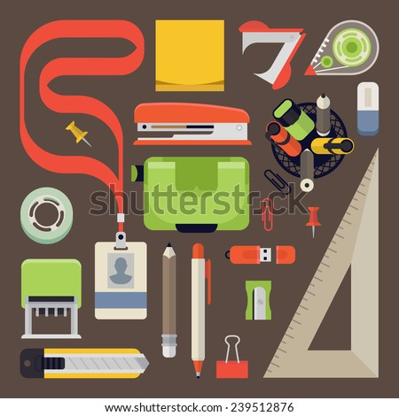 Vector set of office stationery items, tow view, flat design - stock vector