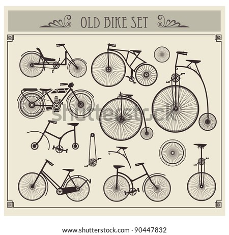 Vector set of old bikes on a gray background - stock vector