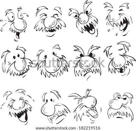 Vector set of old men facial expression in comic style - stock vector