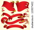 Vector set of old red banners - stock vector