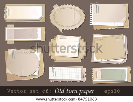 Vector set of old torn paper - stock vector