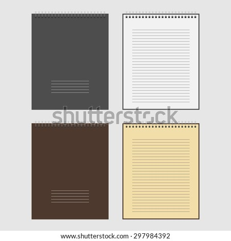 Vector Set of open and closed spiral Notepad Notebook with white lined pages - stock vector