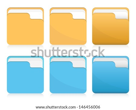 Vector set of orange and blue folder icons  - stock vector