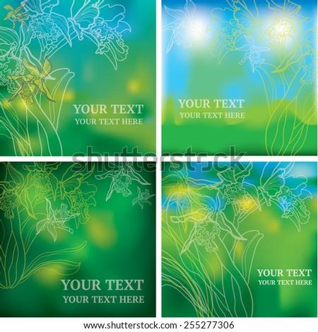 Vector set of organic natural floral frames backgrounds - design elements - stock vector