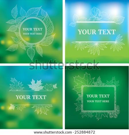 Vector set of organic natural frames backgrounds - design elements - stock vector