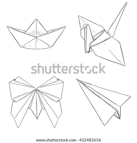 Vector Set of Origami Objects: Plane, Boat, Butterfly, Crane.