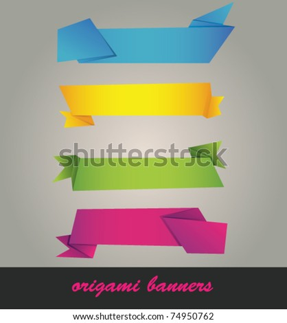 Vector set of origami paper banners - stock vector