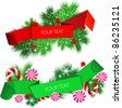 Vector set of origami paper banners. Christmas design - stock vector