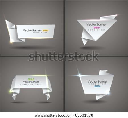 Vector set of origami speech bubble. EPS 10. - stock vector