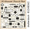 Vector set of 50 ornamental frames and panels in vintage style. - stock