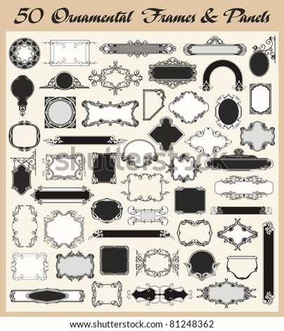 Vector set of 50 ornamental frames and panels in vintage style. - stock vector