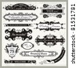 Vector set of ornamental frames and sign designs in vintage style. - stock vector
