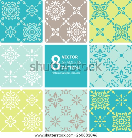 Vector set of ornamental geometric floral background. Seamless pattern for your design wallpapers, pattern fills, web page backgrounds, surface textures. - stock vector