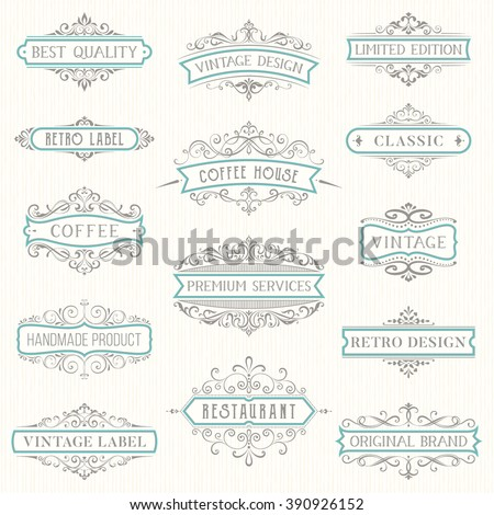 Vector set of ornate calligraphic vintage labels and logo templates. Hotel, restaurant and business identity set. Use for invitations, greeting cards, banners, posters, placards or badges. - stock vector