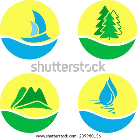 Vector set of outdoor icons and nature symbols isolated on white background - stock vector