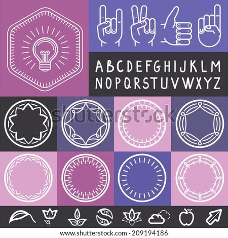 Vector set of outline design elements - graphic design set for emblems and badges - logo design elements, templates and frames - stock vector