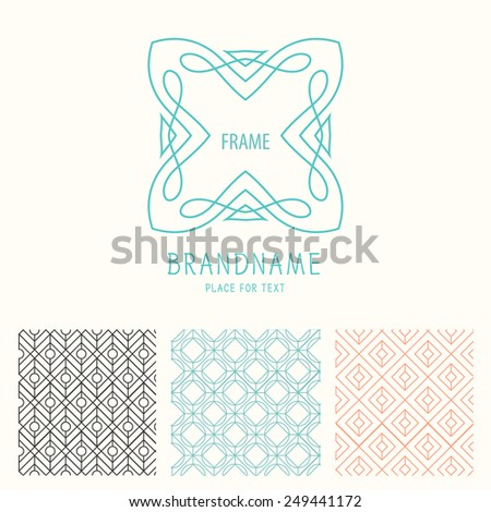 Vector set of outline emblems and badges - abstract hipster logo templates  Elegant lineart logo design elements, vector illustration - stock vector