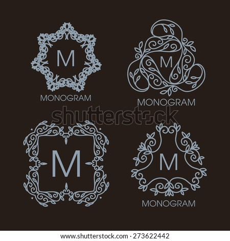 Vector set of outline emblems and badges - abstract hipster logo templates. Vintage design. - stock vector