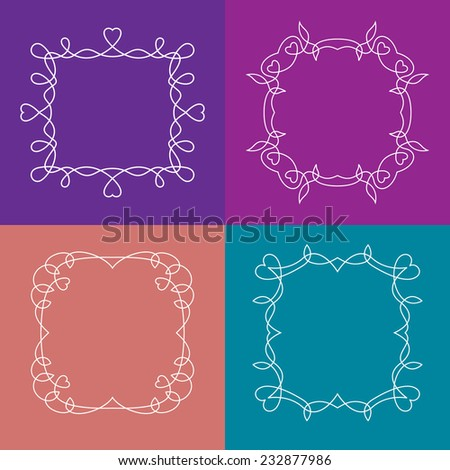 Vector set of outline frames with floral and love elements. Portrait, title or logo decorations. - stock vector