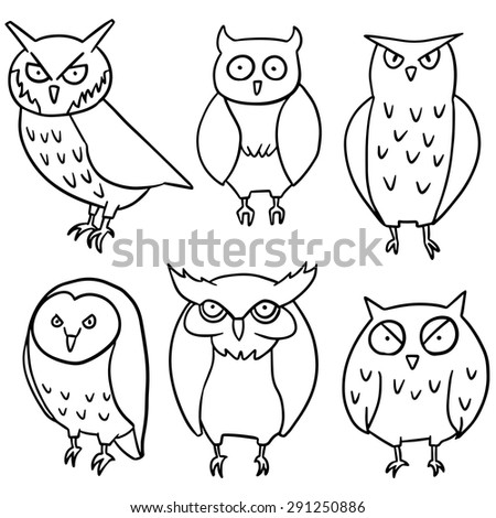 vector set of owl - stock vector