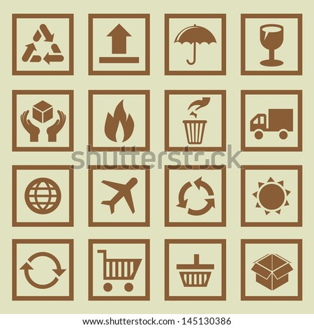 Vector set of package signs and symbols - delivery and logistics - stock vector