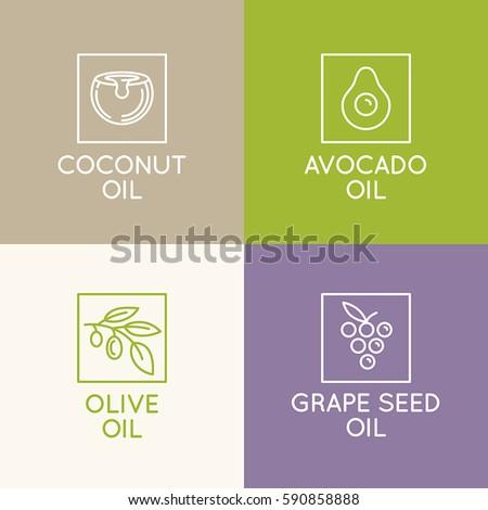 vector set packaging design templates emblems stock vector 590858888