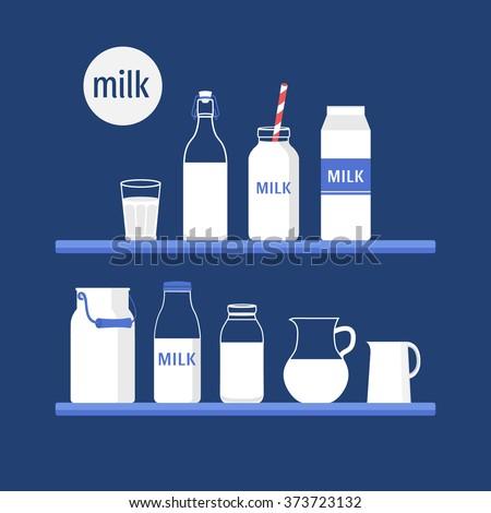 Vector set of packaging for milk. Milk shop. Flat design illustration - stock vector