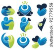 vector set of palm, hearts,people, love and communication - stock photo