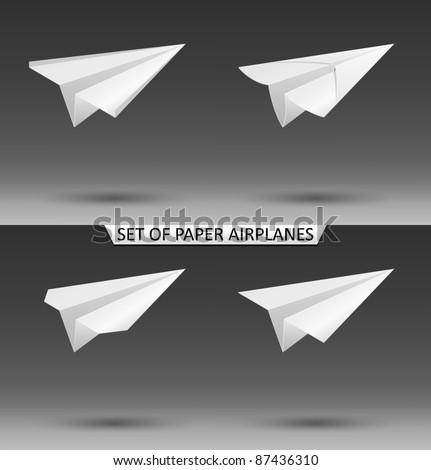 Vector set of paper airplanes