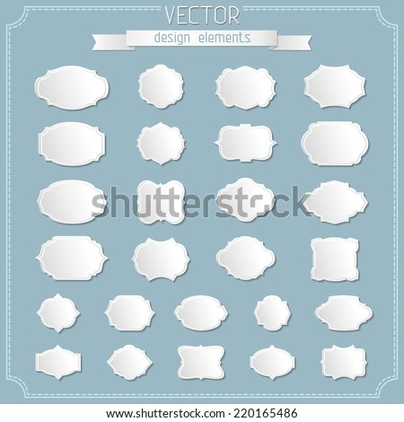 Vector set of paper badges and labels. Simple design elements. There is place for your text. - stock vector