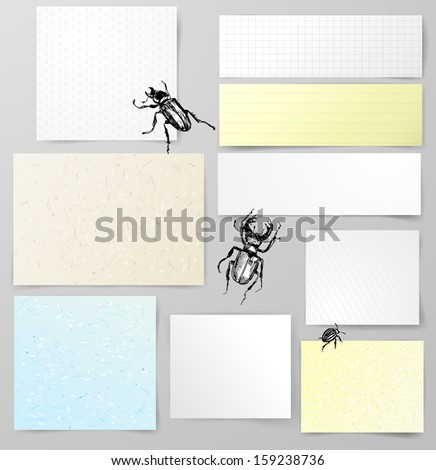 Vector set of paper objects with bugs. Rice paper, hand made paper, textured, lined and white paper with realistic shadows. Vector illustration. - stock vector