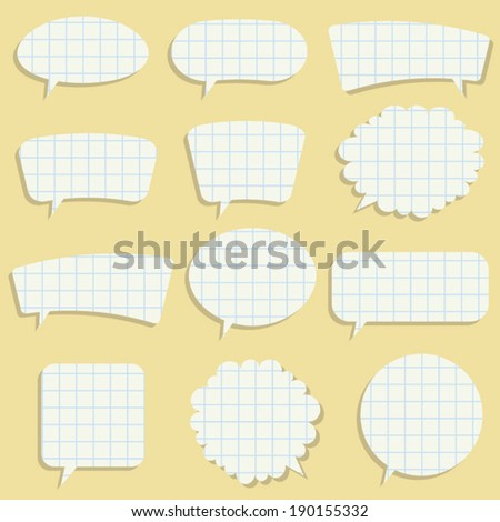 Vector set of paper speech bubbles - stock vector