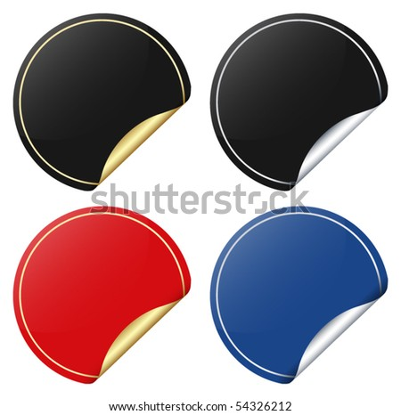 Vector set of paper sticker with curled corner - stock vector