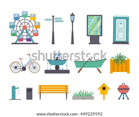 Vector set of park elements: ferris wheel, street light, guidance sign, map panel, wc, bike, fountain, boat, flowerbed, stand-pipe, litter bin, bench, pavement and grass, nesting box, barbecue grill.
