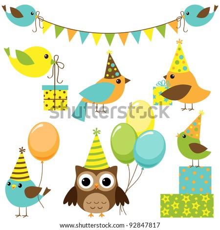 Vector set of party birds - stock vector