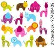 Vector Set of Patchwork Animals - stock