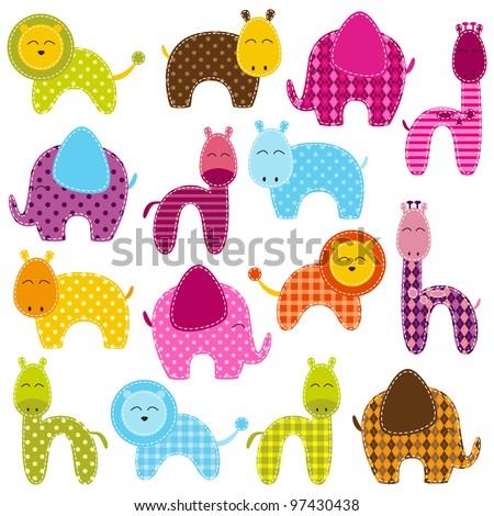Vector Set of Patchwork Animals - stock vector