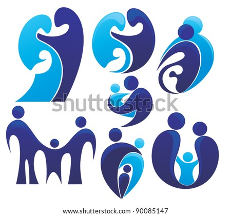 vector set of people, family and love - stock vector