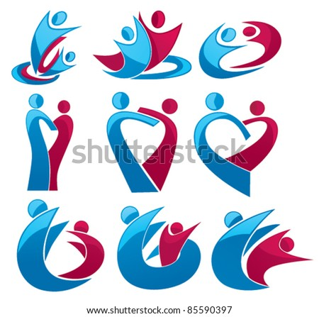 vector set of people, family, love and communication - stock vector