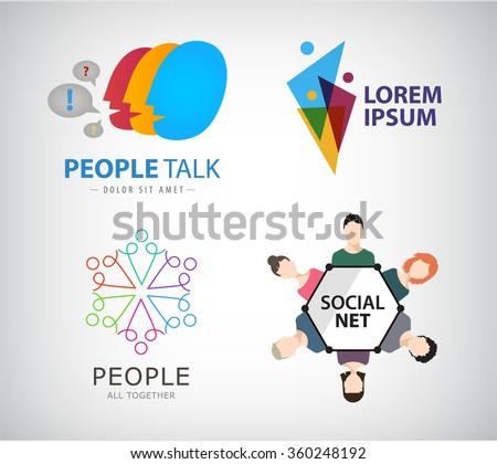 Vector set of people, human, social net, teamwork logos, icons.  - stock vector