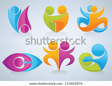 vector set of people, love, friendship and communication on grey background - stock vector