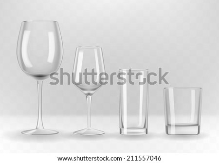 Vector set of photo-realistic transparent wine, water and whiskey glasses. - stock vector