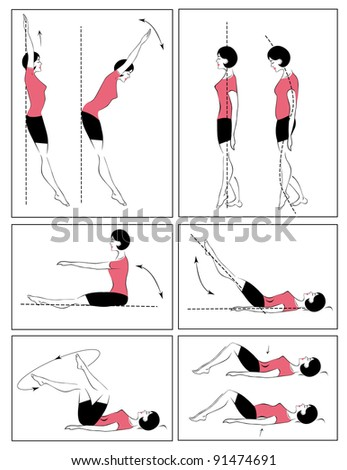 Vector set of physical exercises to relax the spine - stock vector